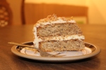 Coffee and walnut cake slice